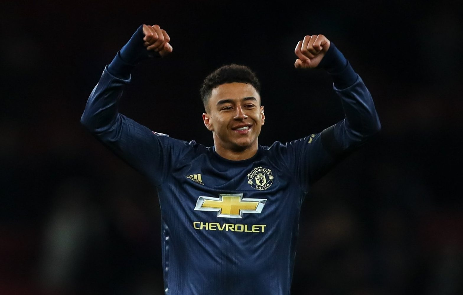 LONDON, ENGLAND - JANUARY 25: Jesse Lingard of Manchester United celebrates at full time during the FA Cup Fourth Round match between Arsenal and Manchester United at Emirates Stadium on January 25, 2019 in London, United Kingdom. (Photo by Robbie Jay Barratt - AMA/Getty Images)