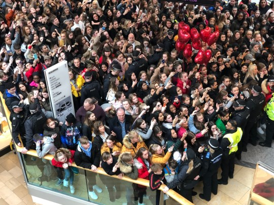Birmingham's Bullring shopping centre was brought to a standstill today as THOUSANDS of teenagers flocked to see YouTube star James Charles. The American personality and beauty vlogger made a 30-second appearance inside the shopping centre - which sent a packed crowd into screaming overdrive. Caption: Thousands of fans turned up at Birmingham's Bullring shopping centre to meet YouTube star James Charles on January 26, 2019