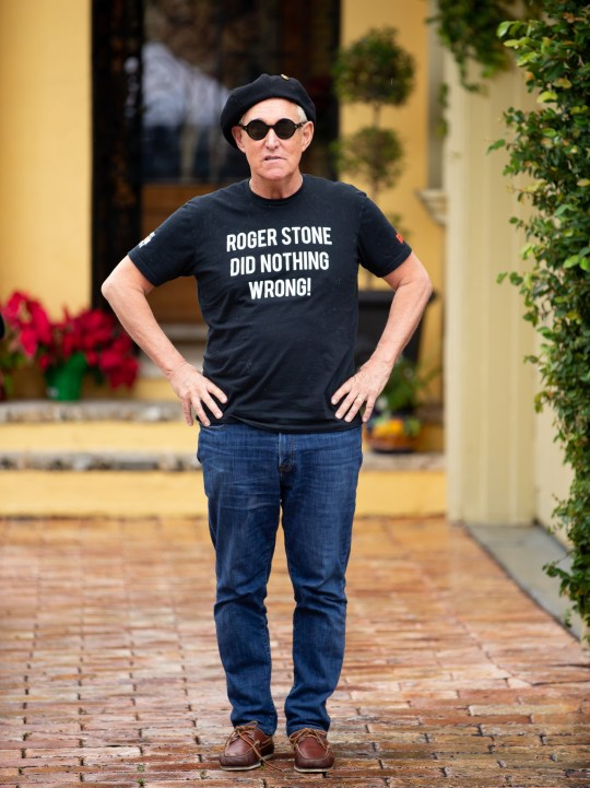 EXCLUSIVE: Embattled Roger Stone sends a defiant message with his T-shirt slogan as he speaks with media outside his Fort Lauderdale, Florida home on Saturday morning. Trump's long time ally, who has been indicted in the Mueller probe, wore a snazzy beret and sun glasses with his eye-catching T-shirt bearing the slogan 'Roger Stone did nothing wrong!' The scandal-hit presidential advisor, who will be arraigned in DC Tuesday, has a large poster of Nixon in his doorway. Pictured: Roger Stone Ref: SPL5058294 260119 EXCLUSIVE Picture by: SplashNews.com Splash News and Pictures Los Angeles: 310-821-2666 New York: 212-619-2666 London: 0207 644 7656 Milan: 02 4399 8577 photodesk@splashnews.com World Rights