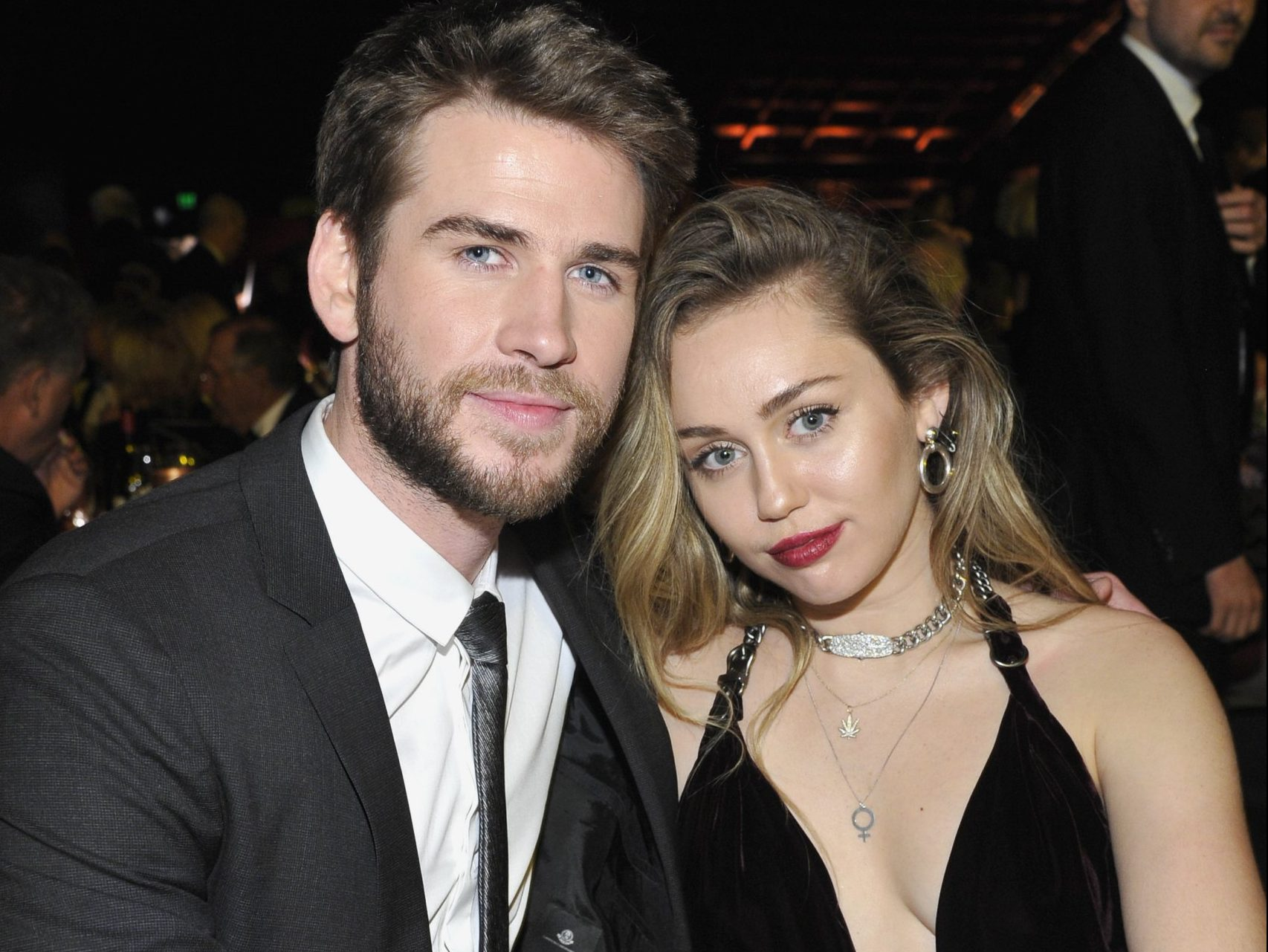 CULVER CITY, CA - JANUARY 26: Honoree Liam Hemsworth (L) and Miley Cyrus attend the 2019 G'Day USA Gala at 3LABS on January 26, 2019 in Culver City, California. (Photo by John Sciulli/Getty Images for G'Day USA )