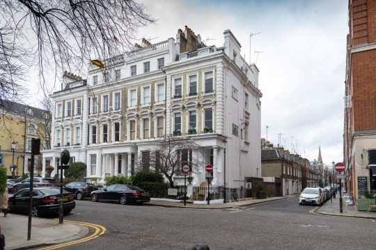 """The Phillimore Gardens building housing the AirBNB ?2.5m five-bedroom flat, right, home of American divorcee Elizabeth Sterling where an AirBnB booking for a """"hen party for eight"""" turned into a wild party with dozens of revellers. Kensington, London, January 27 2019. See NATIONAL story NNAIRBNB."""