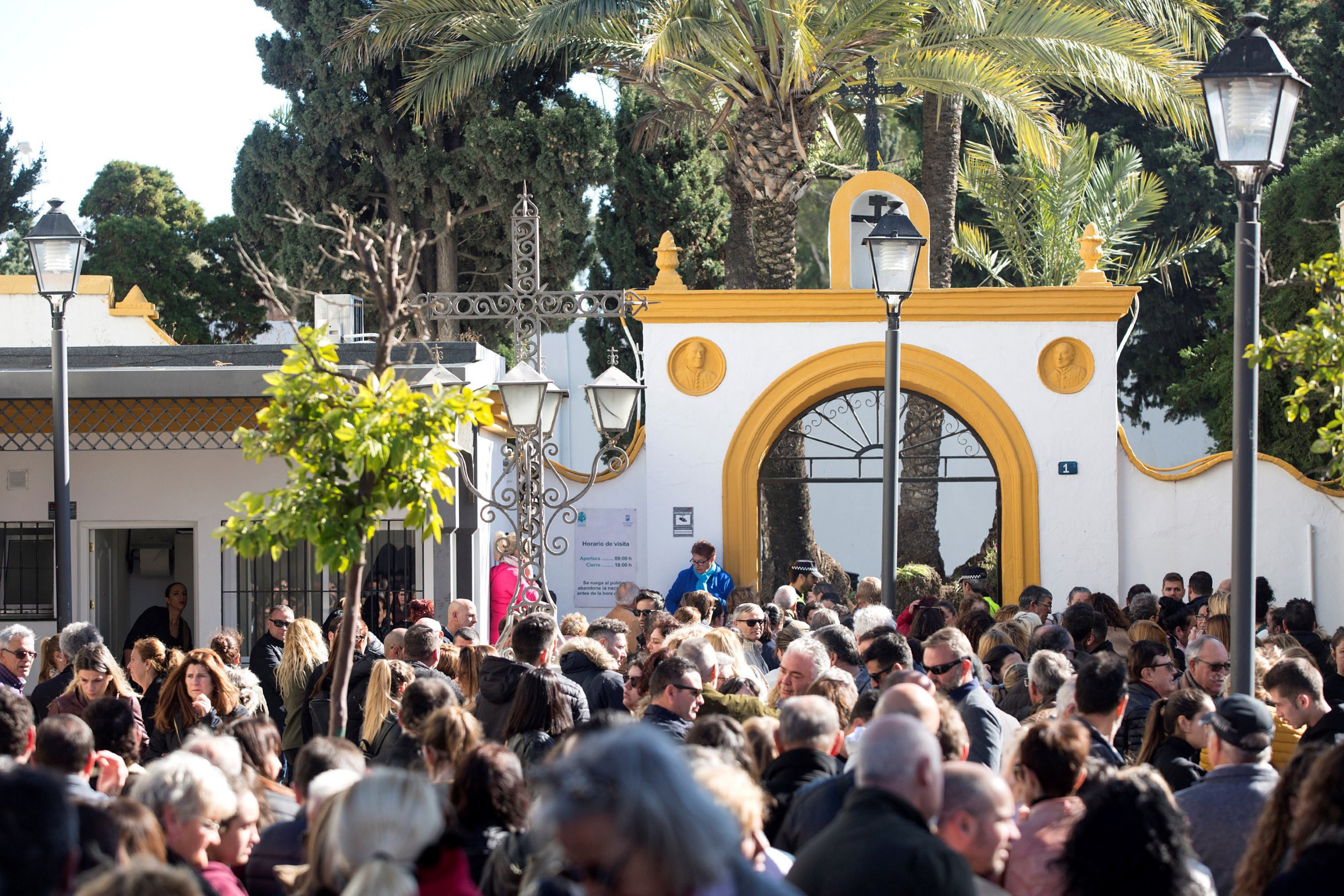 epa07324913 Hundreds of people bid farewell to Julen at the cemetery in El Palo, Malaga, Spain, during the young boy's burrial, 27 January 2019. Two-year-old Julen fell into a well on 13 January 2019 while he was spending the day out in the countryside with his family. The toddler's body was finally found 10 days later, 71 meters underground, after days of works to get him out of the 25cm-wide well. The width of the well and the hardness of the ground delayed the rescue operation. According to the autopsy, the toddler died 13 January 2019 due to the injuries caused by the 71 meter fall. EPA/Daniel Perez
