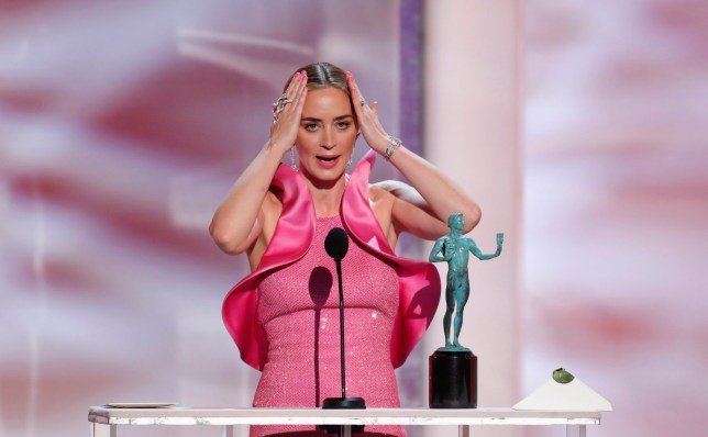 25th Screen Actors Guild Awards - Show - Los Angeles, California, U.S., January 27, 2019 - Actor Emily Blunt reacts after winning Outstanding Performance by a Female Actor in a Supporting Role in a Motion Picture for her work in A Quiet Place. REUTERS/Mike Blake