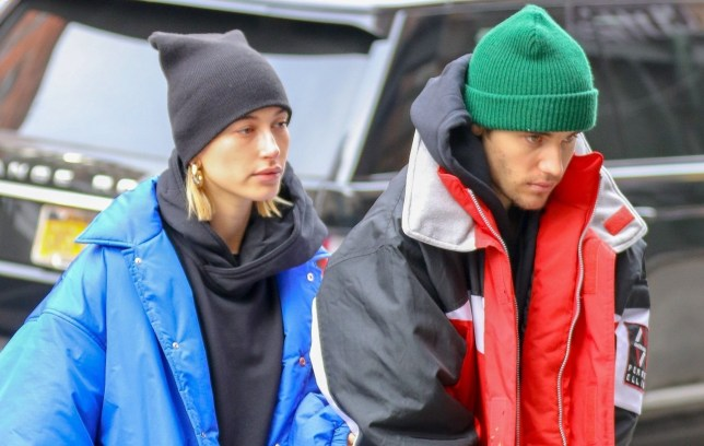 New York, NY - Couple Justin Bieber and Hailey Baldwin do their best to stay warm as they step out in New York. The pair were joined Justin's pastor Carl Lentz. Pictured: Justin Bieber, Hailey Baldwin BACKGRID USA 28 JANUARY 2019 USA: +1 310 798 9111 / usasales@backgrid.com UK: +44 208 344 2007 / uksales@backgrid.com *UK Clients - Pictures Containing Children Please Pixelate Face Prior To Publication*