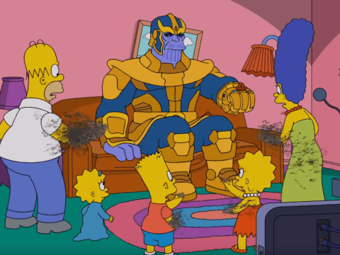 Avengers villain Thanos makes The Simpsons disappear in couch gag crossover and it's actually really funny