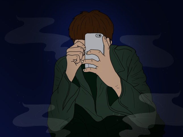 illustration of man in the dark with his face covered by his phone