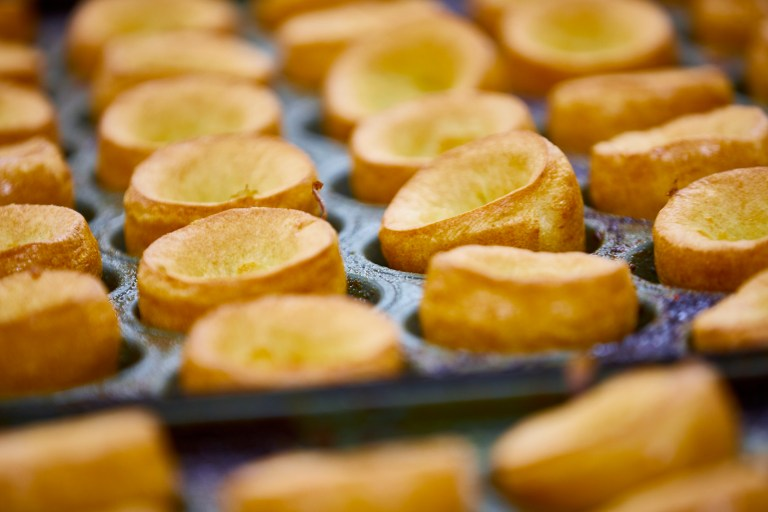 Yorkshire puddings in their pan