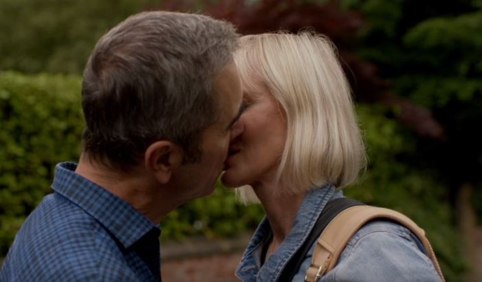 Adam and Karen kiss on Cold Feet