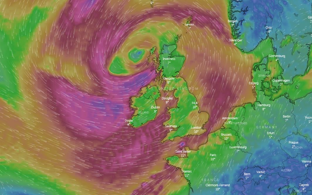 Met Office weather forecasts Storm Erik to bring strong winds into the weekend