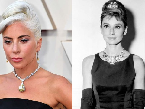 Lady Gaga wears a 128.54 carat necklace for the Oscars last worn by Audrey Hepburn in 1962
