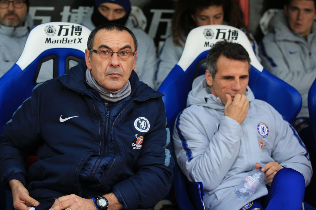 Maurizio Sarri manager of Chelsea and assistant Gianfranco Zola during the Premier League match between Crystal Palace and Chelsea FC
