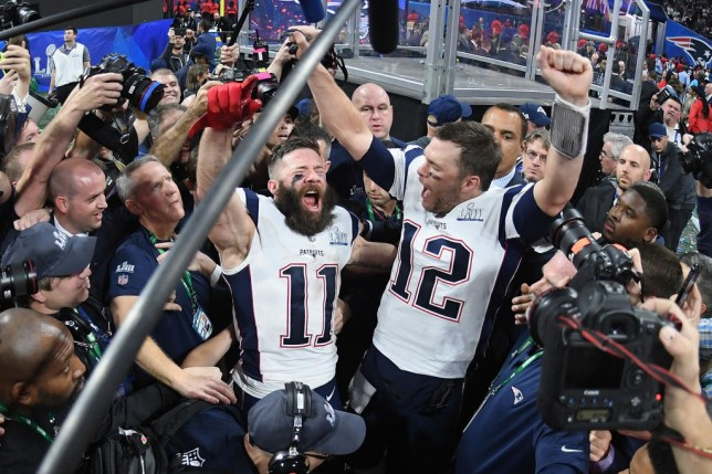 The New England Patriots celebrating their Super Bowl win