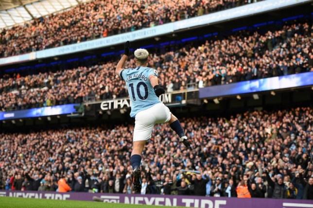 Sergio Aguero celebrates his goal for Man City against Chelsea