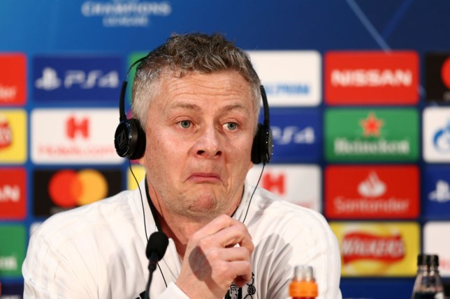 Ole Gunnar Solskjaer, Interim Manager of Manchester United reacts during a press conference ahead of their UEFA Champions League Round of 16 match against Paris Saint-Germain