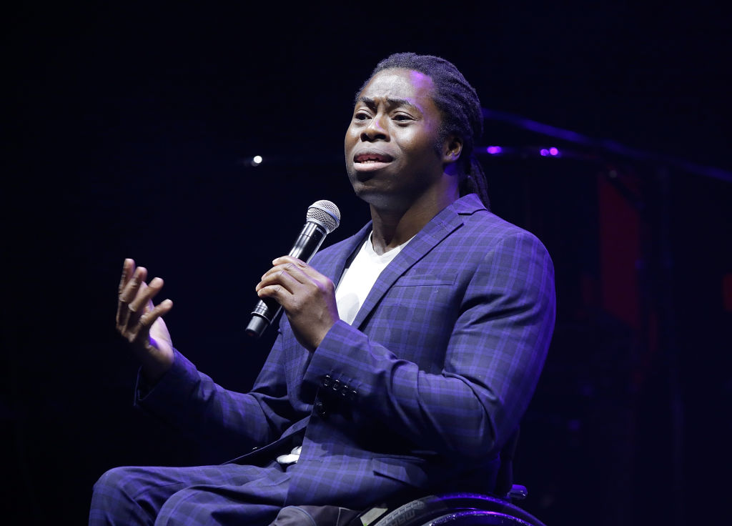 Ade Adepitan speaking at Global Citizens Live London