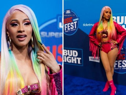 Cardi B channels Tekashi69 and sports rainbow hair before performing at Super Bowl party