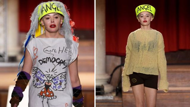 Rose McGowan struts in political clothes for Vivienne Westwood at London Fashion Week