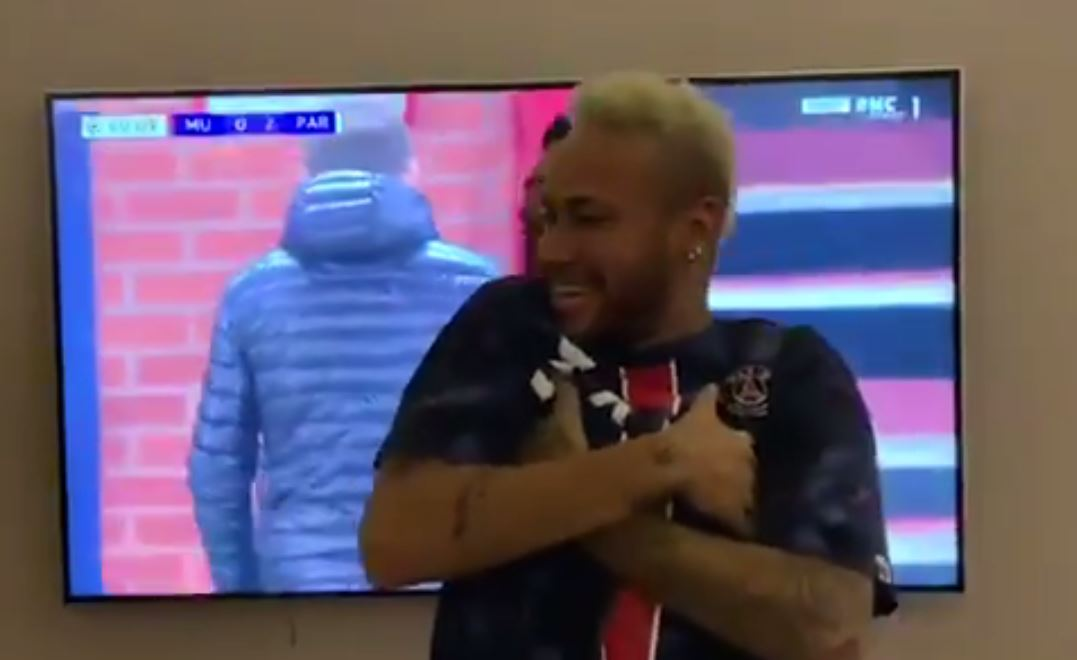Neymar goes wild celebrating Paris Saint-Germain's goals against Manchester United