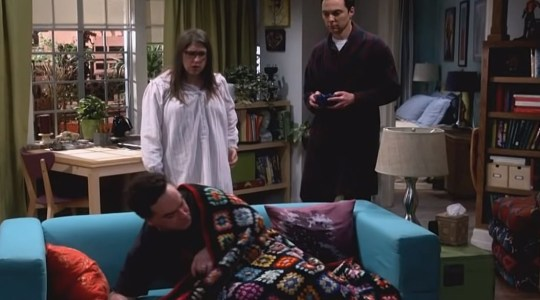 b57d8b9f64a09 Leonard resorts to crashing on Sheldon and Amy's coach to stop himself  (Picture: CBS)