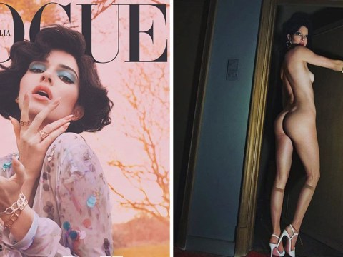 Kendall Jenner is evidently not in Britain as she wears only dishwashing gloves and heels in nude shoot