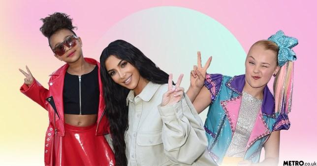 North Kardashian and Kim Kardashian alongside YouTuber JoJo Siwa