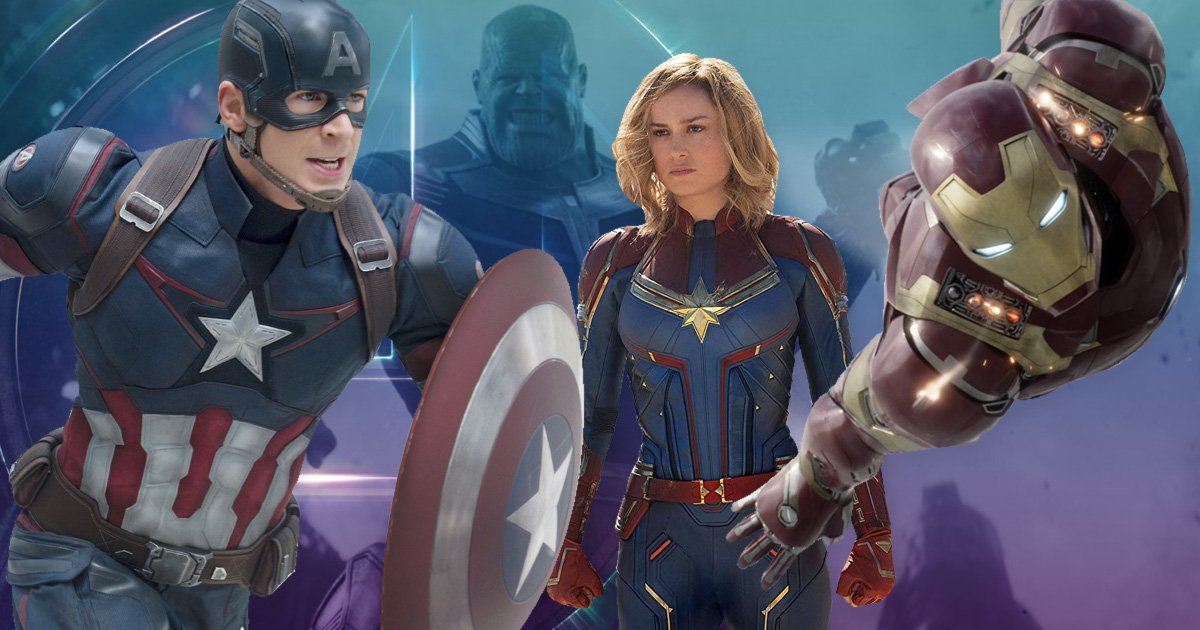 Josh brolin as thanos, chris evans as captain america, brie larson as captain marvel, and iron male opposite a blue and purple backdrop