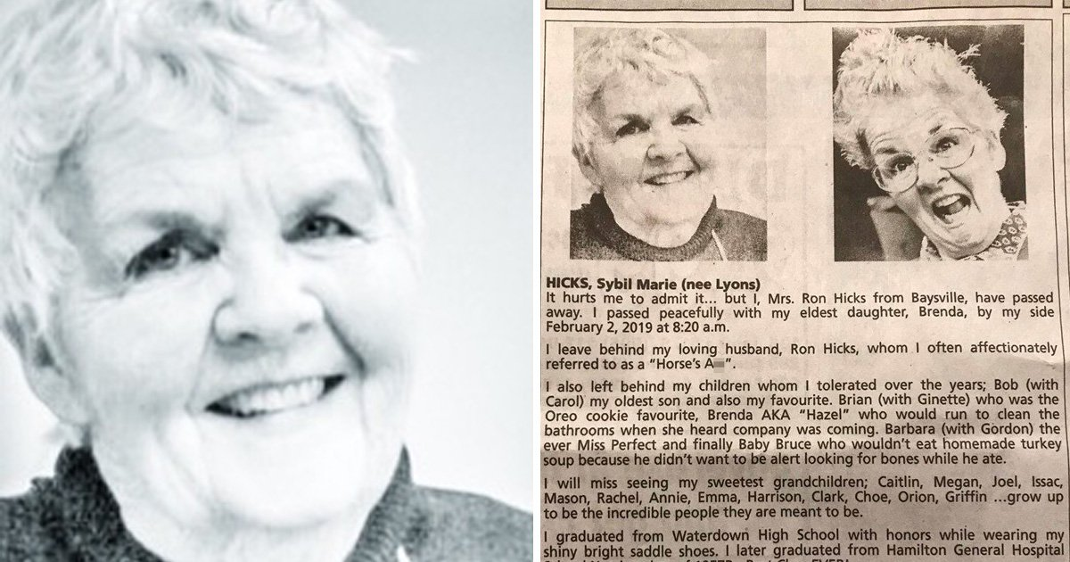Grandma says she finally has a smoking hot body in glorious obituary written by her children