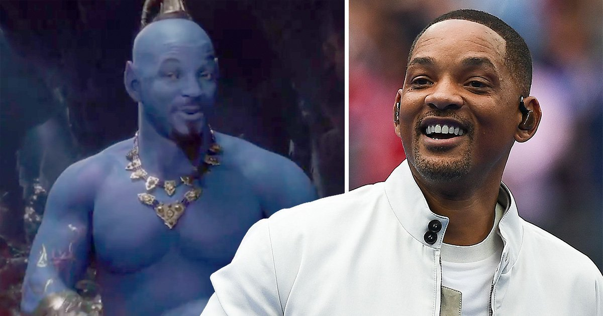 Will Smith in blue as the Genie in Aladdin and him in his regular clothes.