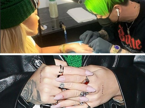 Rita Ora updates fans on tattoo collection as she gets 'patience' and 'power' inked onto her hands