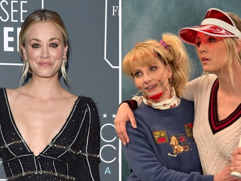 Kaley Cuoco goes old school with a brace-face Melissa Rauch in Big Bang Theory behind-the-scenes