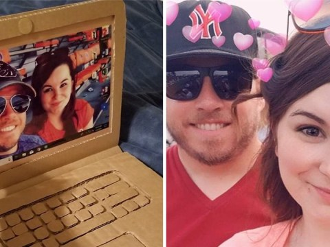 Man pranks girlfriend with a cardboard laptop for Valentine's Day