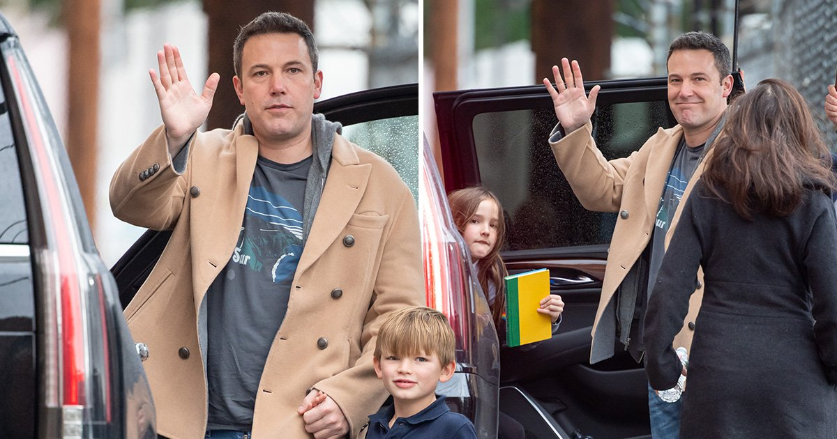 Ben Affleck pictured on daddy duty as he officially says goodbye to Batman role