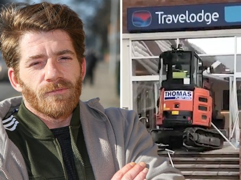 Builder charged after smashing up Travelodge with digger