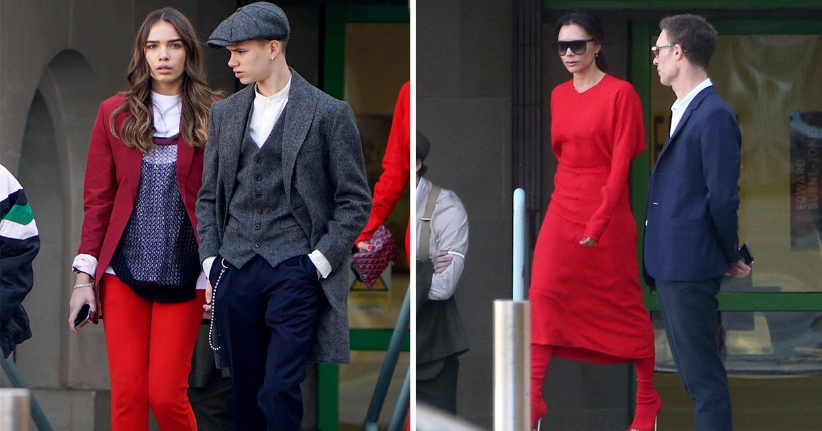Victoria Beckham and Brooklyn's girlfriend Hana Cross match in red at London Fashion Week show
