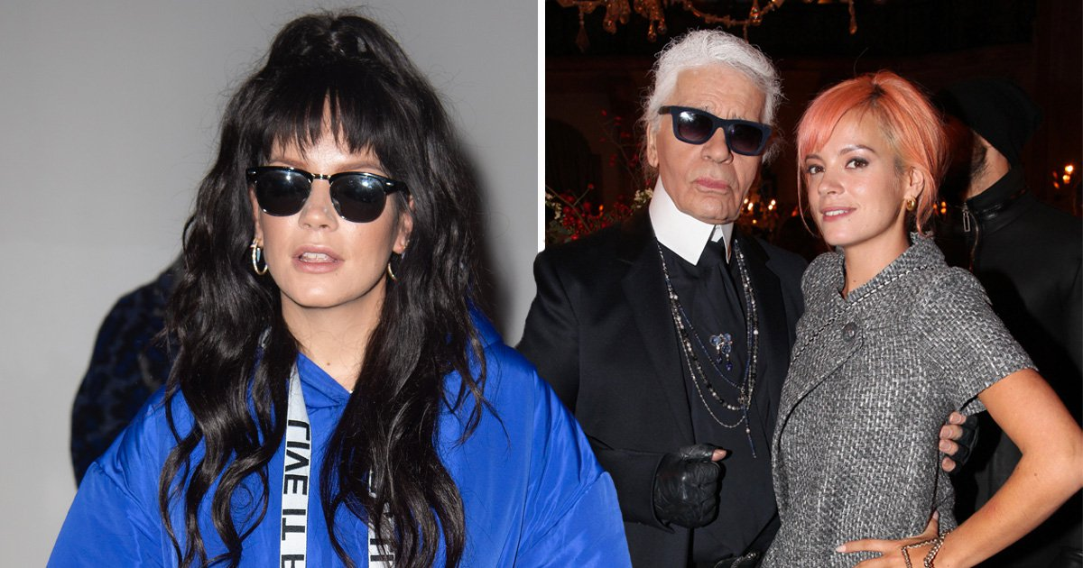 Lily Allen looks solemn at London Fashion Week after paying tribute to Karl Lagerfeld after designer's death