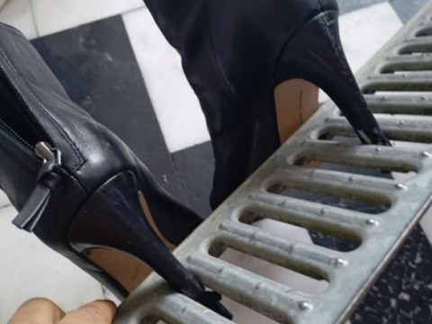Woman's heels got stuck in a drain on a night out… so she took the drain home with her