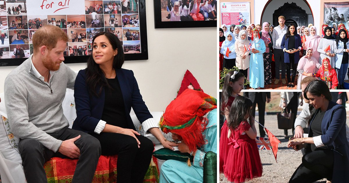 Schoolgirls honour mum to-be Meghan with henna during Moroccan mountains trip