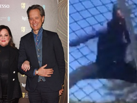 Richard E. Grant kicks off Oscars celebrations by trampolining with Melissa McCarthy