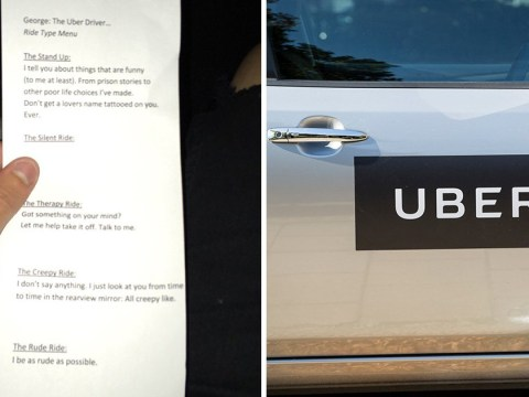 Uber driver offers menu to let his customers choose what sort of trip they have