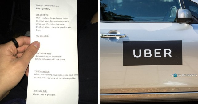 Uber driver offers menu to let his customers choose what