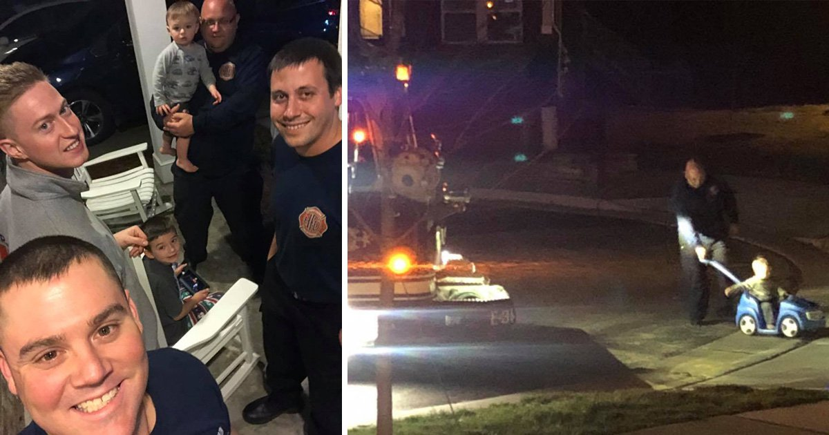 Kind firefighters step in to babysit during a family emergency