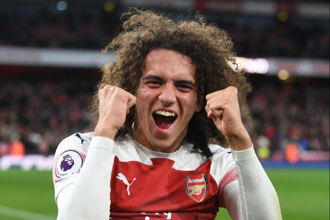 LONDON, ENGLAND - DECEMBER 02: Matteo Guendouzi celebrates scoring the Arsenla win after during the Premier League match between Arsenal FC and Tottenham Hotspur at Emirates Stadium on December 1, 2018 in London, United Kingdom. (Photo by Stuart MacFarlane/Arsenal FC via Getty Images)
