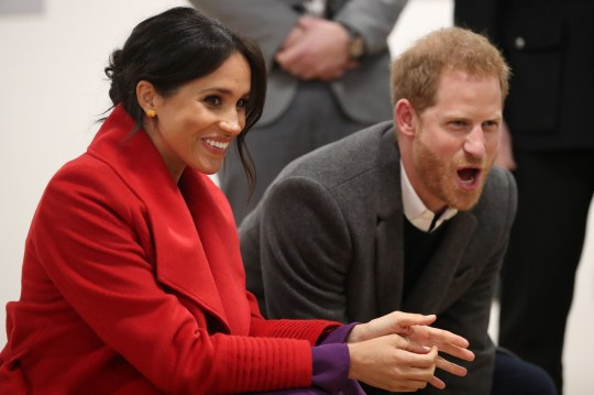 Britain's Prince Harry, Duke of Sussex and Meghan, Duchess of Sussex, watch a dance troupe perform at the Hive, Wirral Youth Zone, during their visit to Birkenhead, northwest England on January 14, 2019. (Photo by Danny Lawson / POOL / AFP)DANNY LAWSON/AFP/Getty Images