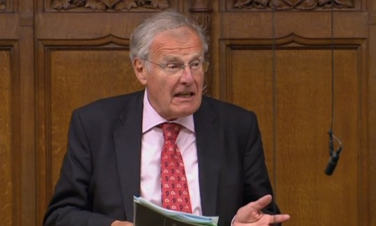 Sir Christopher Chope speaking in the House of Commons, London as Government-backed plans to criminalise upskirting have been derailed after being opposed by the Conservative grandee.