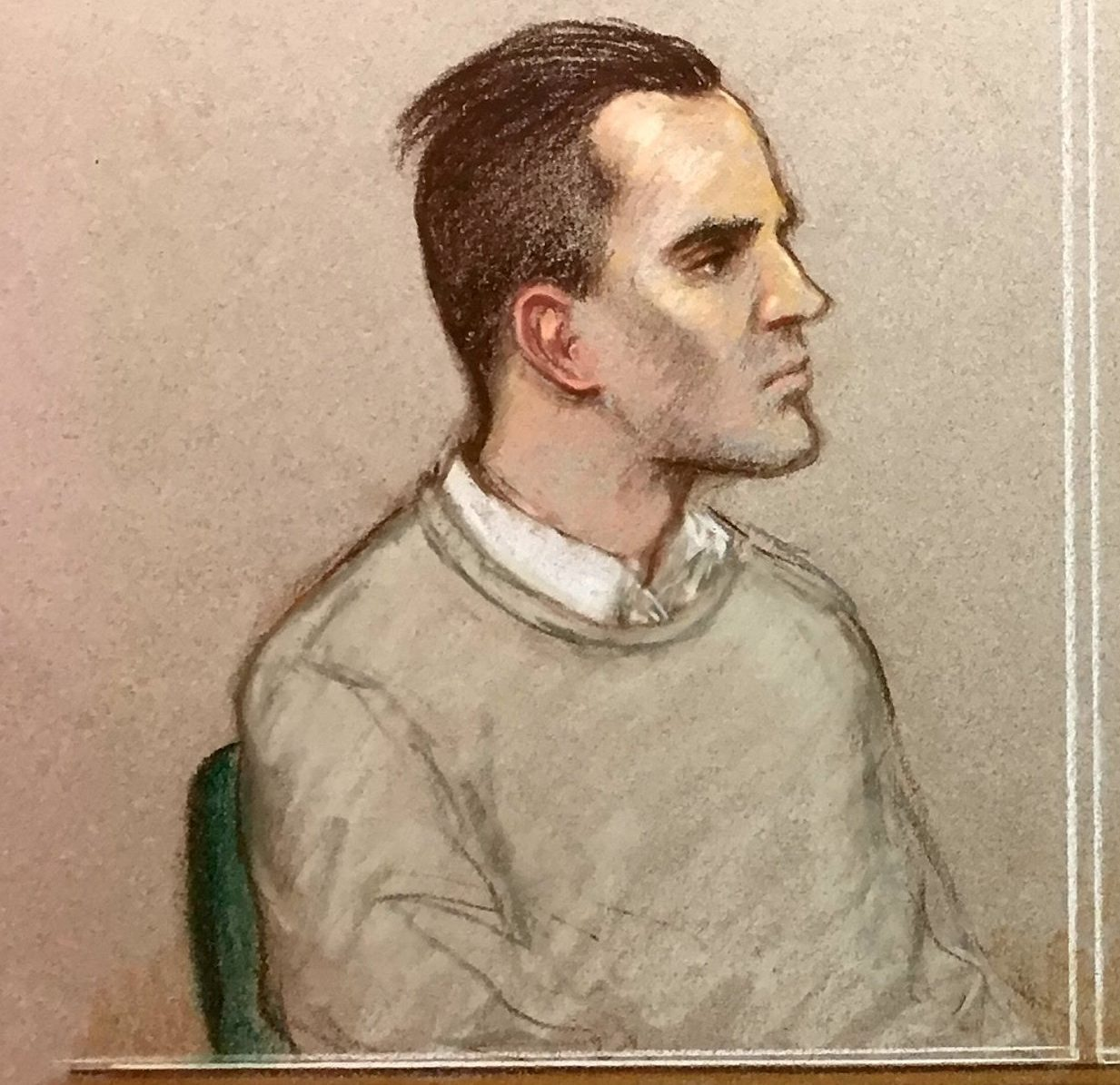 Court artist sketch of Stephen Waterson,25, at his Old Bailey trial charged with the manslaughter of Alfie Lamb,3. Old Bailey, London. January 24 2019.