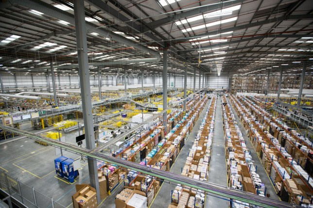 Mandatory Credit: Photo by Geoff Robinson Photography/REX/Shutterstock (9980417ae) Staff at the Amazon fulfilment centre in Hemel Hempstead, Hertfordshire, prepaing for Black Friday Amazon prepares for Black Friday, UK - 14 Nov 2018