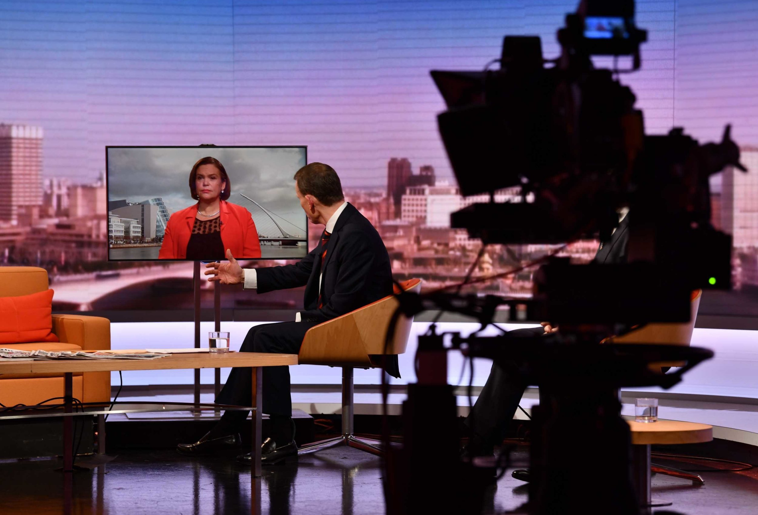 For use in UK, Ireland or Benelux countries only BBC handout photo of Leader of Sein Fein Mary Lou McDonald being interviewed by host Andrew Marr on the BBC1 current affairs programme, The Andrew Marr Show. PRESS ASSOCIATION Photo. Issue date: Sunday February 3, 2019. See PA story POLITICS Brexit. Photo credit should read: Jeff Overs/BBC/PA Wire NOTE TO EDITORS: Not for use more than 21 days after issue. You may use this picture without charge only for the purpose of publicising or reporting on current BBC programming, personnel or other BBC output or activity within 21 days of issue. Any use after that time MUST be cleared through BBC Picture Publicity. Please credit the image to the BBC and any named photographer or independent programme maker, as described in the caption.