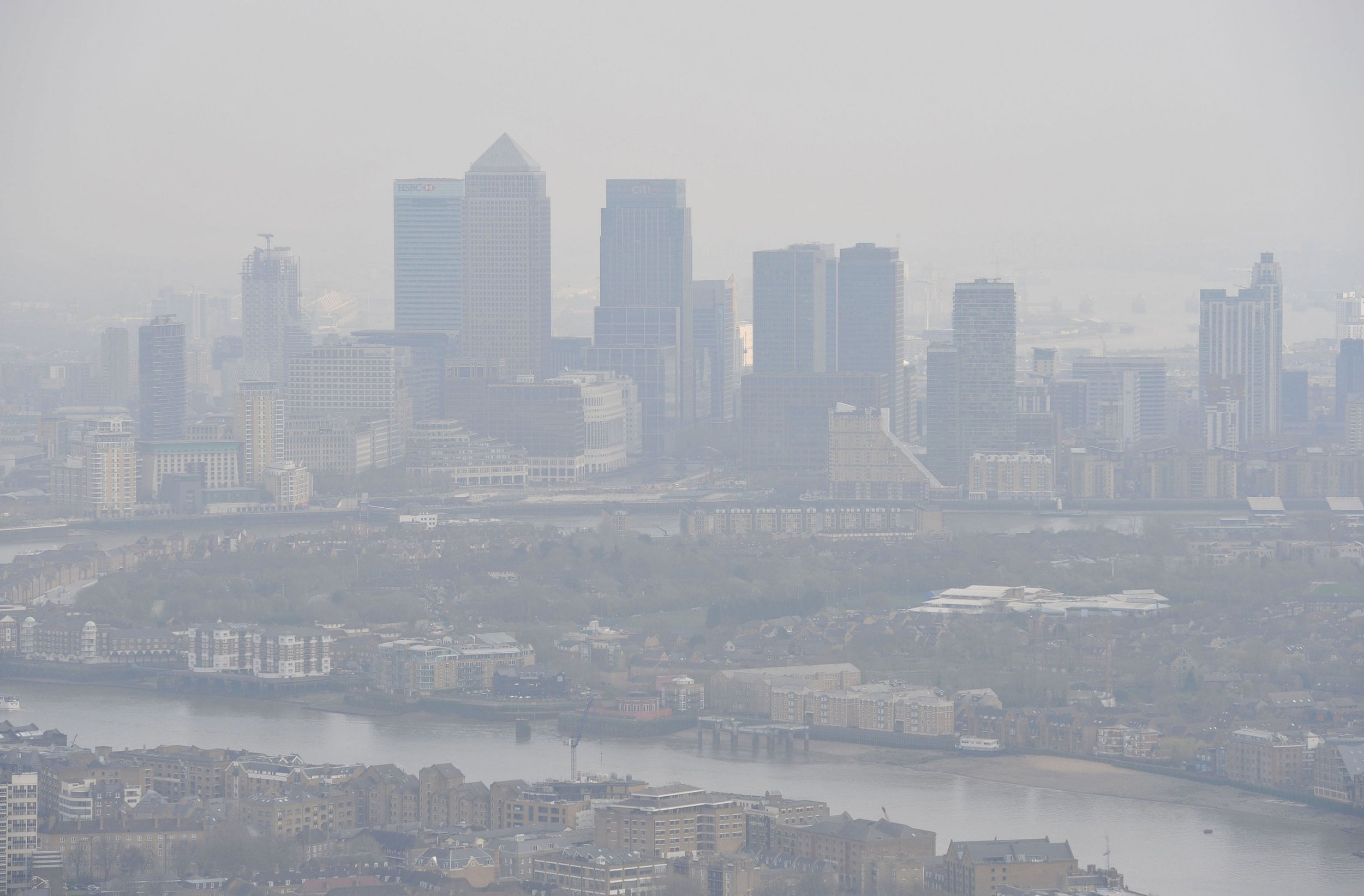 """Embargoed to 2230 Tuesday February 05 File photo dated 10/04/15 of air pollution over London. Children should be put at the heart of Government plans to tackle air pollution to help prevent damage to their health, a leading charity has said. PRESS ASSOCIATION Photo. Issue date: Tuesday February 5, 2019. Current national action """"lacks the ambition and direction needed"""" to protect young people from immediate harm as improvements to air quality are sought, a new report by Unicef UK warns. See PA story HEALTH Pollution. Photo credit should read: Nick Ansell/PA Wire"""