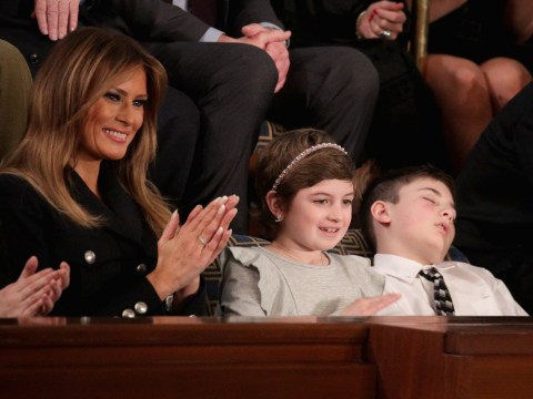 Boy bullied for having same surname as Trump falls asleep during State of the Union address
