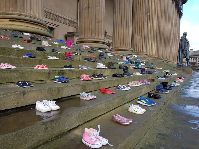 """METRO GRAB FACEBOOK Chasing The Stigma Like This Page ?? 4 February ?? To mark the start of #ChildrensMentalHealthWeek Chasing the Stigma have teamed up with @RadioCityTalk for a """"lost childhoods"""" #MentalHealthMonday special. These shoes on the steps of St George's Hall represent the 226 school children who lost their lives to suicide in 2017. https://www.facebook.com/chasingthestigma/photos/a.431666273680668/1153277551519533/?type=3&theater"""